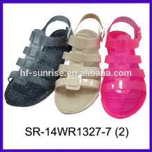 Novas sandálias descalças sandálias de geléia de pvc novas sandálias de geléia claras planas