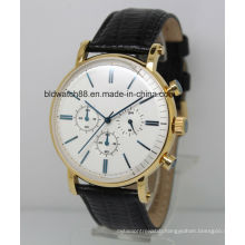 2017 New Fashion Men Stainless Steel Chronograph Watch with Leather Band