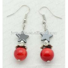 Fashion Hematite Star Beads Earring, perles d'hématite et boucles d'oreilles en argent couleur boucles d'oreilles hematite 2pcs / set