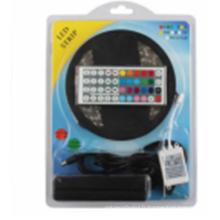 Lumières de bande de LED SMD5050 imperméable à l'eau 5M 60leds / meter RGB Couleur Lumières de corde flexibles de LED avec l'alimentation 12V 5A + 44 touche IR à distance