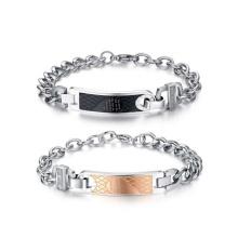 Amantes chunky rosa de ouro e pulseira de forma de coração negro, jóias casal único