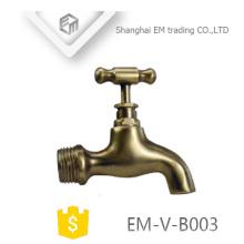 EM-V-B003 jardin extérieur machine à laver l'eau bibcock robinet deux façons poli laiton bibcock