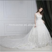 Neueste Brautkleid Designs Gericht Zug ärmelloses Hochzeitskleid Braut