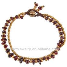 Perles en laiton fabriquées à la main Bracelet véritable en perles de grenat en grenat Vners SB-0031