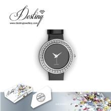 Destino joias cristal de Swarovski couro elegante relógio