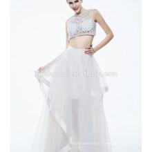 Vestido de noite sexy sem mangas branco puro das senhoras as mais novas para muçulmano