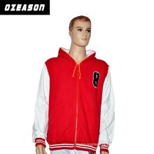 Custom Made Sportswear Men′s Fleece Hoody Pocket Jacket, Red Zip up Hoodie