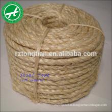 Corde de sisal naturelle non traitée de 3/4 brin 1 pouce 6mm pour l'empaquetage, agriculture, marine, expédition