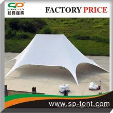Tente blanche Jumbo Ex-star 16x21m avec un cache latéral zippé protégé de la pluie et des UV