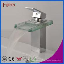 Fyeer Chrome Plated Square Glass Waterfall Spout Single Handle Lavabo de latón Grifo Fregadero Mezclador de agua Grifo Wasserhahn