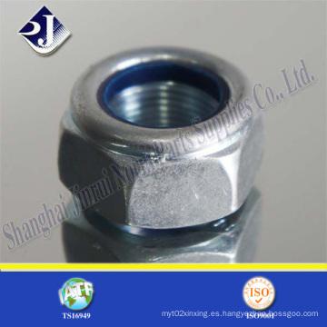 Tuerca hexagonal de bloqueo de nylon con zinc