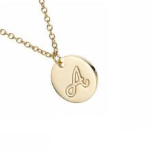 Alphabet Initial Disk Letter Wholesale Custom Stainless Steel Gold Pendant