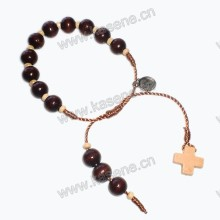 10mm hölzernes Beaes Schnurknoten-Armband mit hölzernem Kreuz