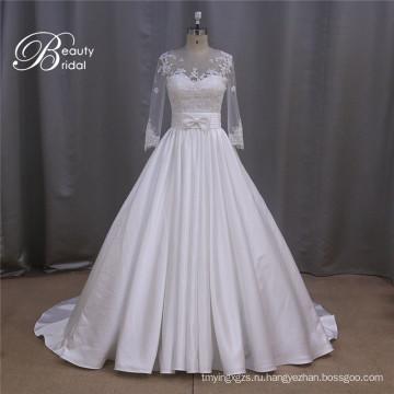 Длинный рукав атласная свадебное платье с замыкающими