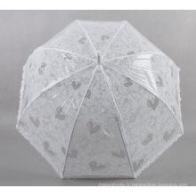 Parapluie en dentelle blanche avec motif coeur pour dames