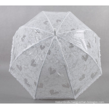 White Lace Umbrella With Heart Design For Ladies