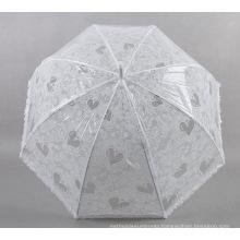 White Love Small Fresh Ladies Transparent Umbrella