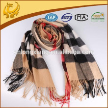Indian Popular Plaid Style Women Wide 100% Cashmere Material Pashmina Cashmere With Tassel