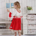 pretty floral embroidery party fancy princess dress girls red Christmas long dress