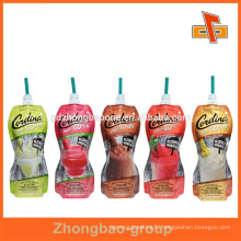 Customized shape food grade juice drink spout pouch bag with print