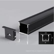 Perfil de alumínio de iluminação linear LED preto
