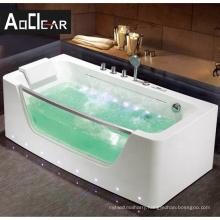 Aokeliya  glass  color air lights jetted bathrooom freestanding acrylic massage whirlpool bathtubs
