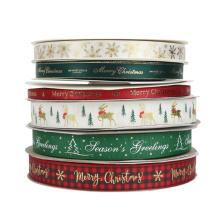 PS999 High quality single side Christmas ribbon roll printed customised ribbon logo