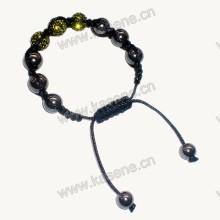 Fashion Bracelet, Black Acrylic Bracelet Rhinestone 10mm Round Cloisonne Bead