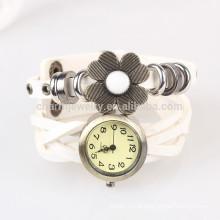 Sen linha feminina curto trançado cinto relógio relógios girassóis punk retro envolto relógio pulseira relógio BWL039
