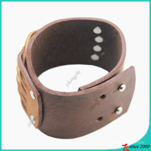 Bracelet en cuir véritable marron Fashion Fashion (LB)