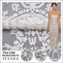 Bordado branco de venda quente da tela do laço da forma da alta qualidade