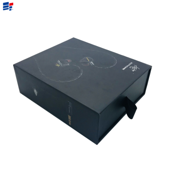 Simple black earphone drawer gift box