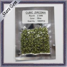 Medio verde oliva redonda corte brillante zirconia cúbica para la joyería