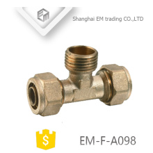 EM-F-A098 Brass tee pipe compression connector and male thread branch pipe fitting
