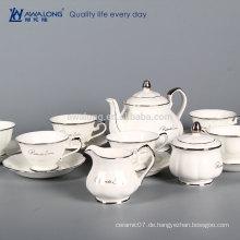 15pcs reines weißes Firmenzeichen kundengebundenes feines Porzellan-antike Kaffee- und Tee-Sätze, feine China-Kaffee-Satz für Verkauf
