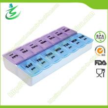 BPA freie doppelte wöchentliche quadratische Pille-Kasten, 7 Tagespille-Kasten