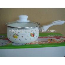 enamel saucepan with glass lid