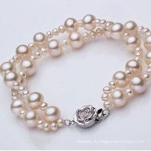 Мода двойной прядь круглый натуральный браслет перлы Оптовая