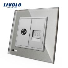 Livolo gris panneau mural en cristal TV COM RJ45 Internet Prise de courant Prise électrique VL-C791VC-15
