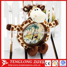 OEM Factory plush animal clock cover plush animal clock cover giraffe shaped plush cover