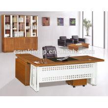 Último design de mesa de escritório de design, mesa de escritório com tampo de vidro, uma mesa de frente e uma mesa lateral, tamanho personalizado