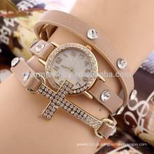 Cruz diamante relógio pulseira senhoras moda estudantes assistir três círculos BWL018 atacado