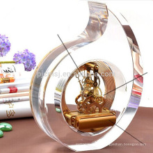 Personnaliser le souvenir de mariage d'horloge de forme ronde de cristal