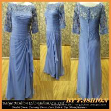 Bleu Manches longues Robe de soirée brodée en robe Robe de soirée en soie
