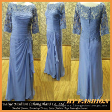 Blue Long sleeves Beaded Embroidered Evening Dress Lace Fabric Party Gown party dress fabric