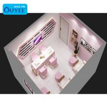 Beauty Shop Pink Nail Table Beauty Salon Reception Desk Hair Station Salon Furniture