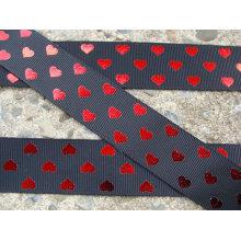 Design de moda, fita de cetim preta com coração impresso fita/casamento brilhante da fita