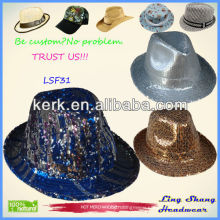 Newest Style Sequins Fabric Fedora Hat/Party hat cotton panama fedora hat,SF31