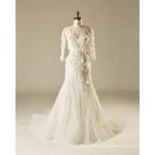 Full Sleeve Fit und Flare 3 D Blumen Outdoor Hochzeitskleid