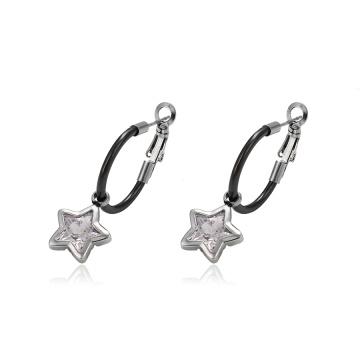 93750 design Simples Em Aço Inoxidável jóias charme em forma de estrela clipe em brincos